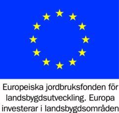 """Eu-flagga med texten """"Europeiska jordbruksfonden för landsbygdsutveckling. Europa investerar i landsbygdsområden"""" undertill."""
