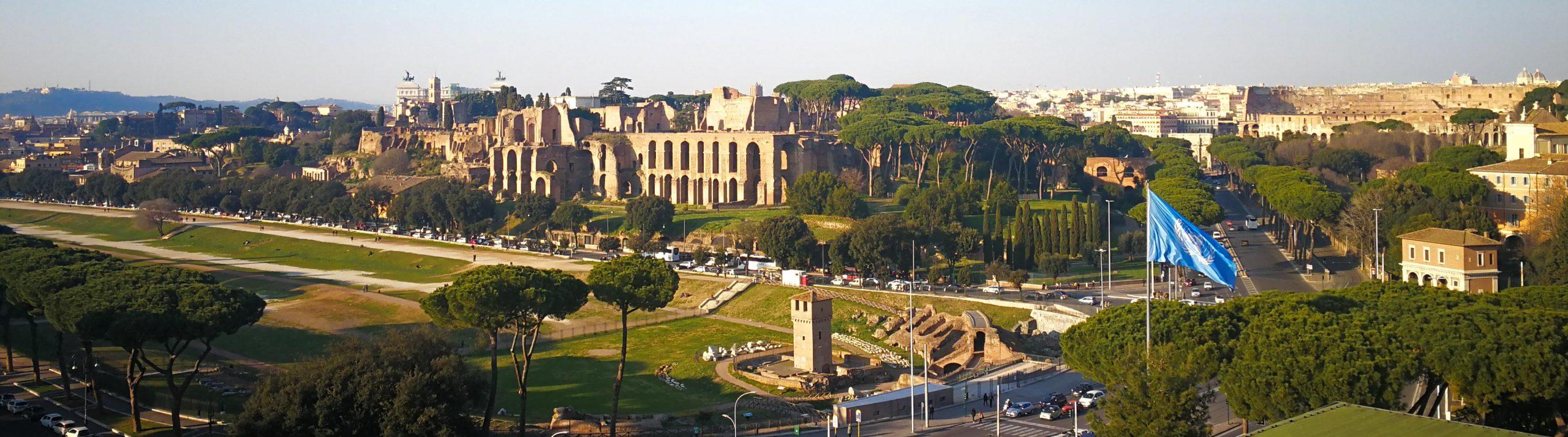Utsikt över Rom med FAO:s flagga i förgrunden och Circo Maximo i bakgrunden.