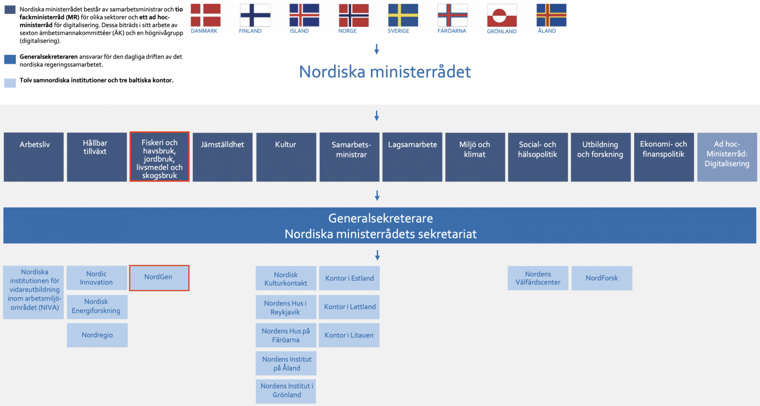 Figur som beskriver Nordiska Ministerrådets olika ämnesområden, sekretariatet och dess institutioner. NordGen och MR-FJLS är markerade i rött.