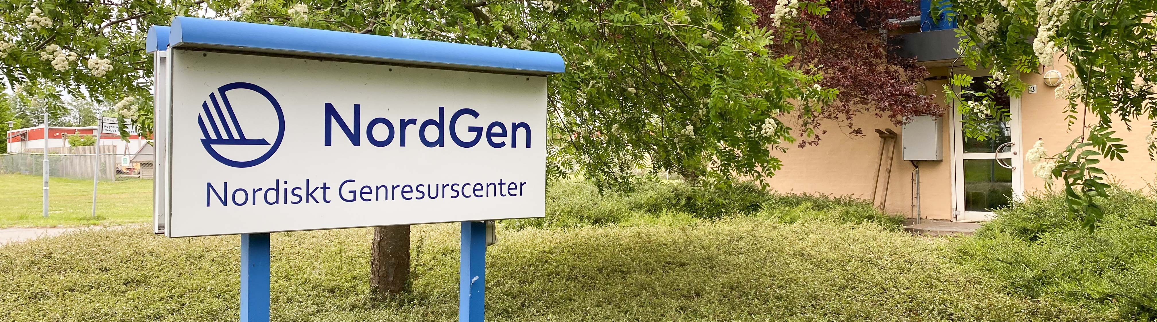NordGen-sign in blue and white outside of Nordgen's head office.