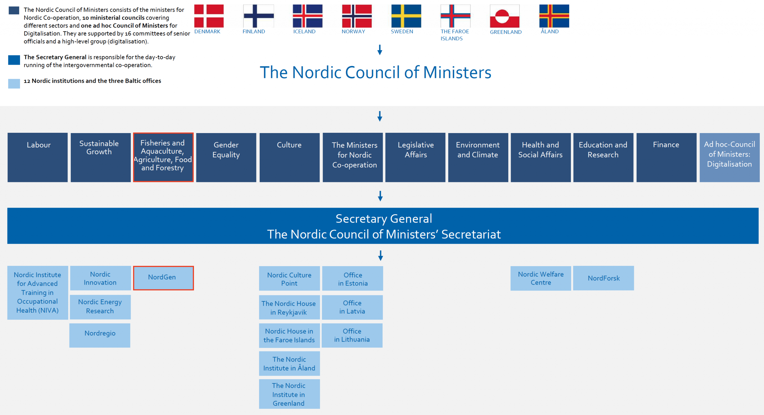 A figure that describes the organisation of the Nordic Council of Ministers
