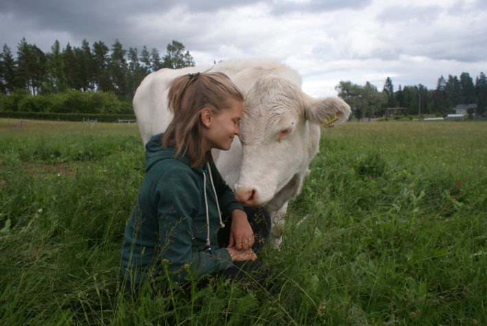 Girl with mountain cattle competition winner