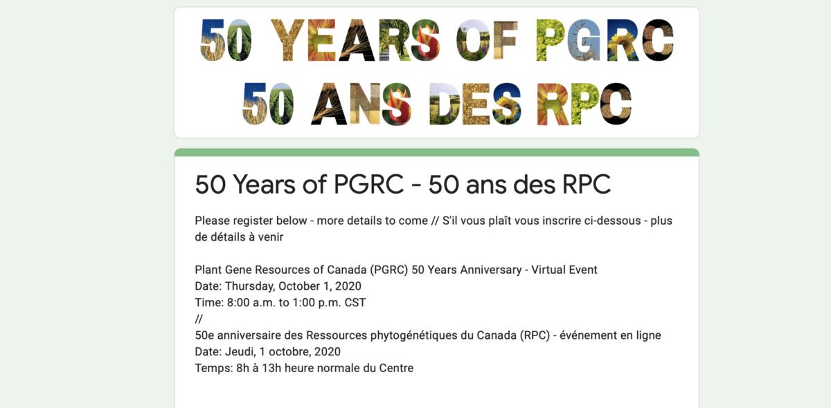 Bild på inbjudan till Kanadas genbanks 50-årsfirande.