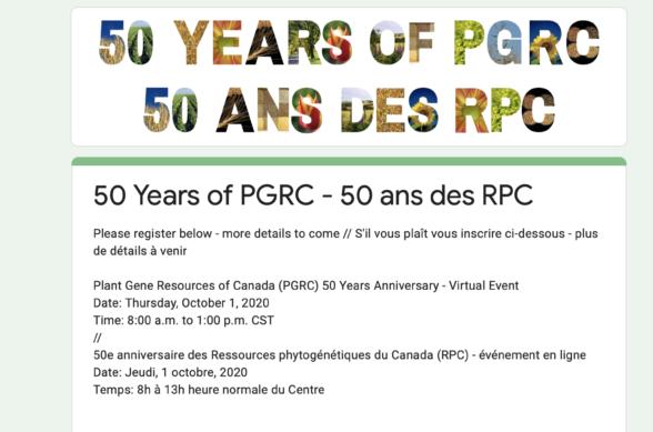Picture of invitation to Canada's Genebank's anniversary