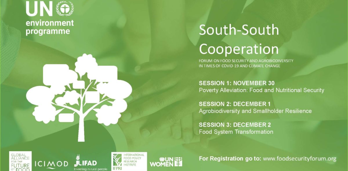Green sketch with UNEP:s logo and information about the event which can be read also in the text.