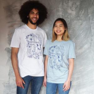 Bild på ung kvinna och ung mani t-shirt med tryck där det står Genetic Diversity Forever